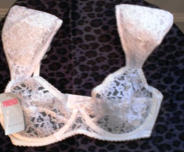 NWT Forenza White Unlined Underwire Embroidered Lace Bra with Soft Shoulder Pads 34D