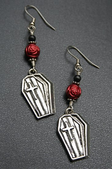 Knocking on Death's Door Silver Coffin Earrings