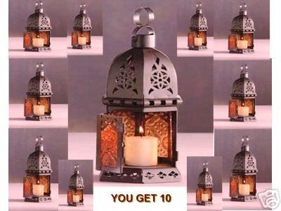 10 ROMANTIC AMBER GLASS& METAL LANTERN CANDLE TEA LITE