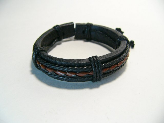 Black with Brown Leather Bracelet (B631S)