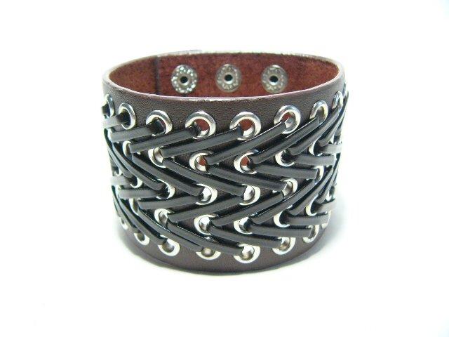 Gothic Brown Punk Rock Cuff Wristband Bracelet (B642R)