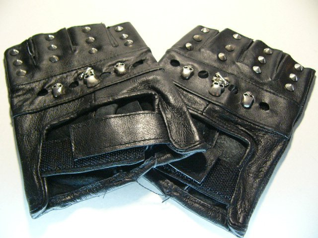 Skull Leather Hand Glove (H613R)