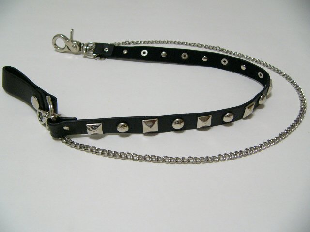 Square and Circle Stud Gothic Black Leather and Wallet Chain (W616R)