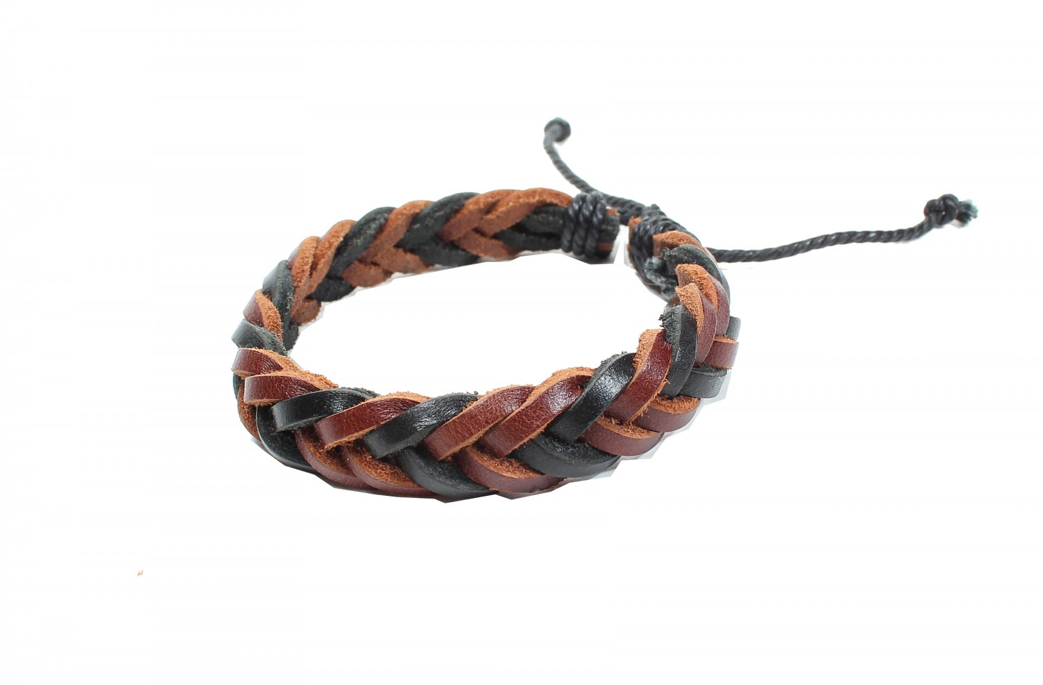 Brown and Black Cross Leather with Cord Bracelet (B619S)