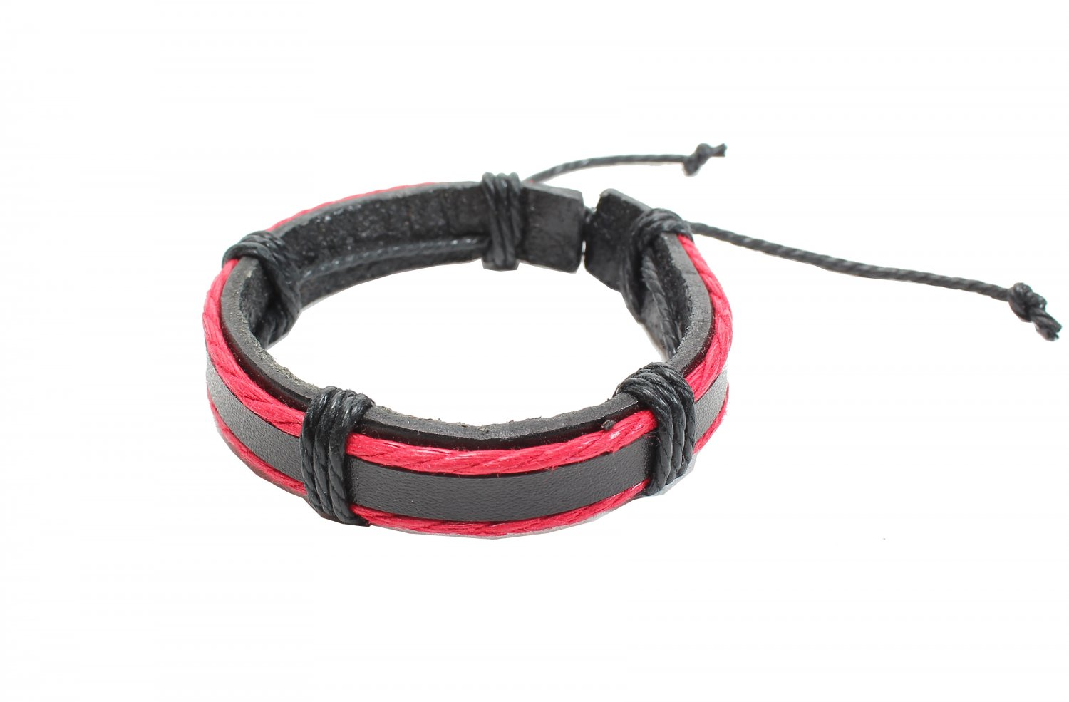 Thick Brown Leather with Red Cord Beside Bracelet (B614S)