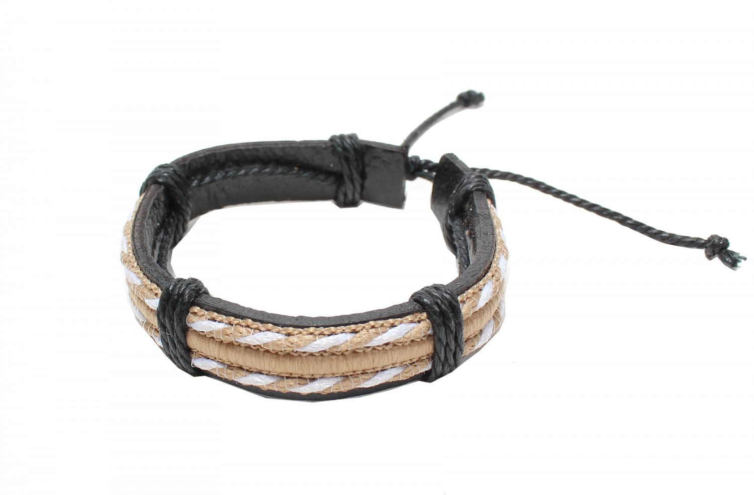 White and Light Brown Strings with Leather Bracelet (B627S)