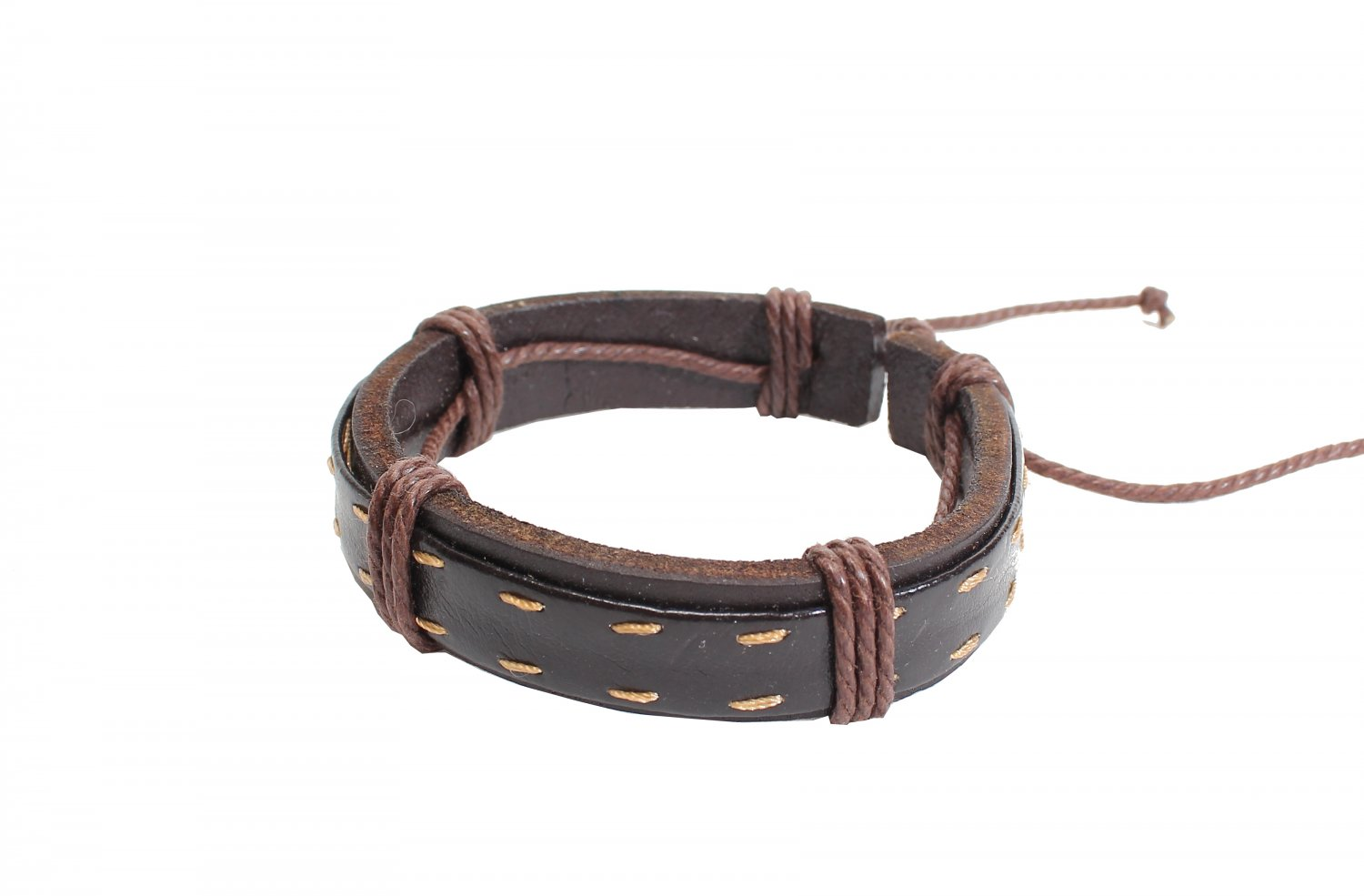 Dark Brown Leather with Strings Bracelet (B630S)