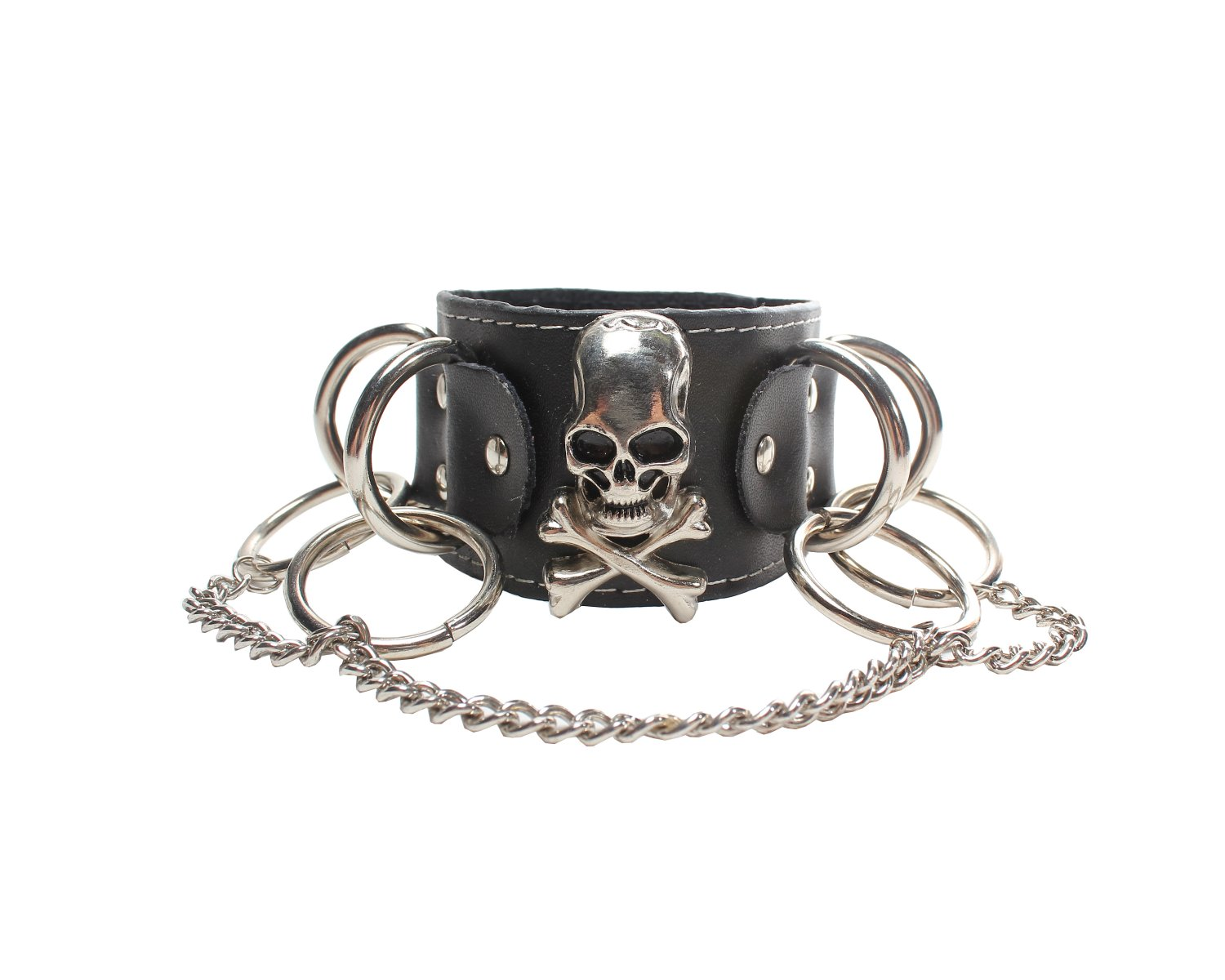 Skulls With Chains Gothic Bracelet Wristband Cuff (B634R)