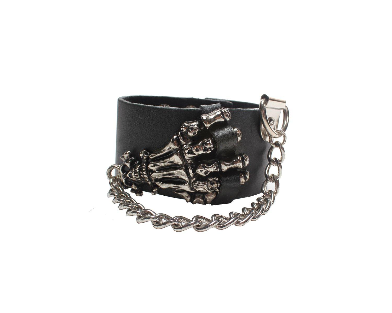 Hand Gothic Bracelet Wrist Band Goth Punk Emo (B636R)