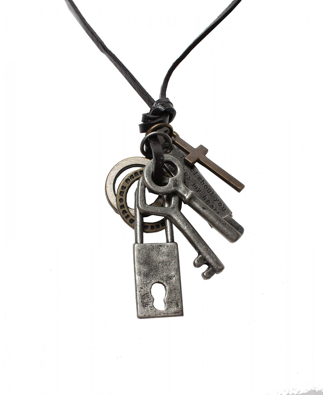 Key & Lock Pendant with Cross and Circle Rings Necklace (N619SN)