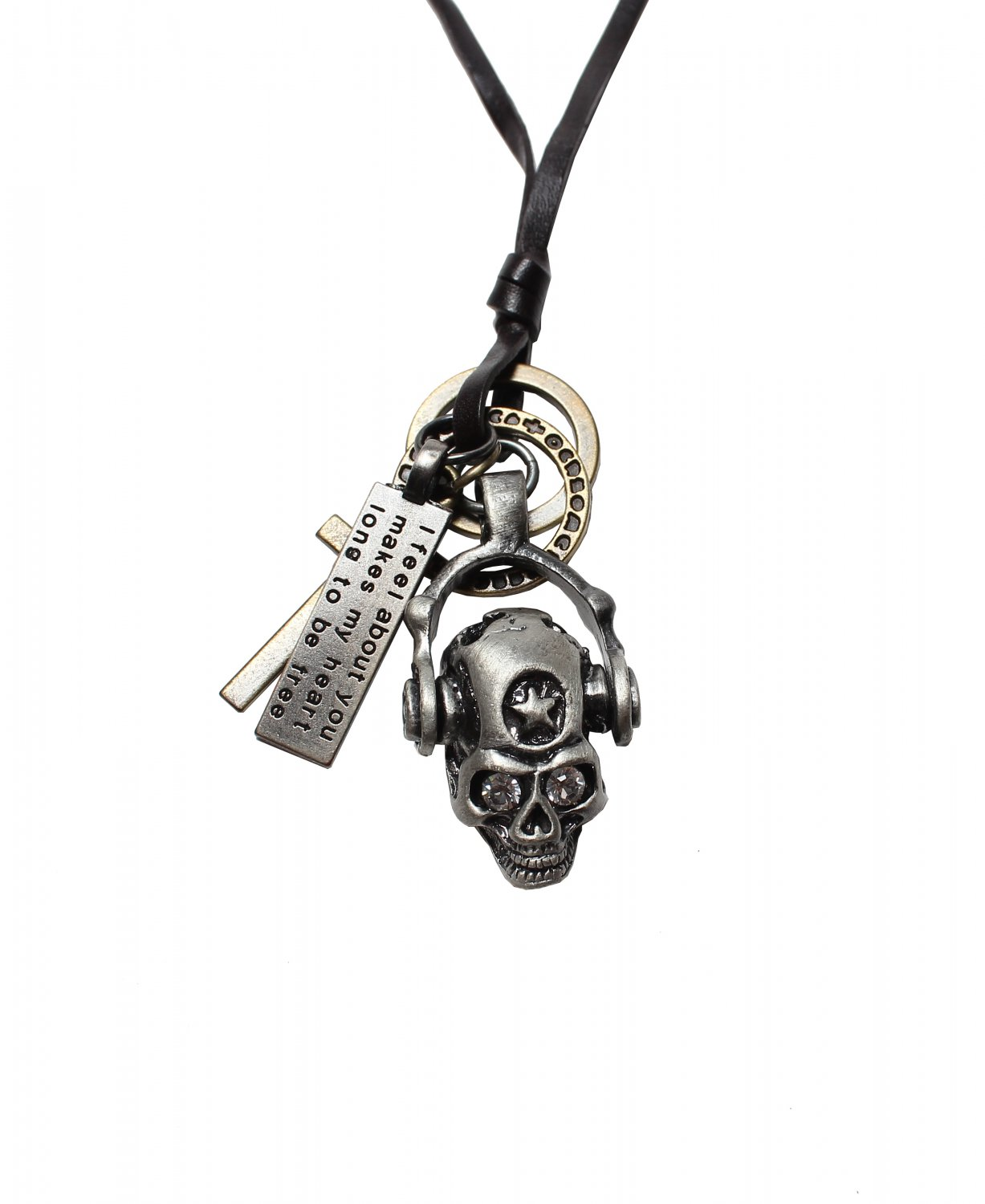 Skull Pendant with Cross and Circle Rings Necklace (N620SN)