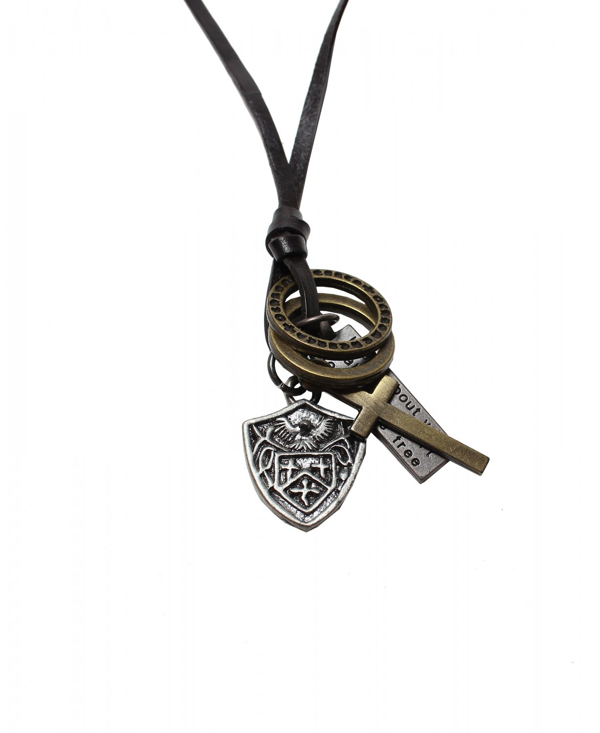 Symbol Pendant with Cross and Circle Rings Necklace (N621SN)
