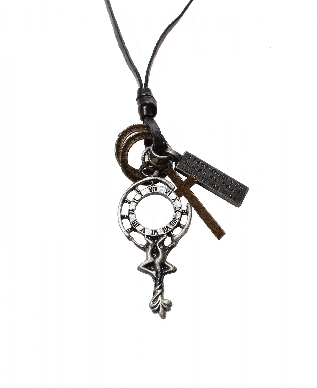 Pendant with Cross ad Circle Rings Necklace (N624SN)
