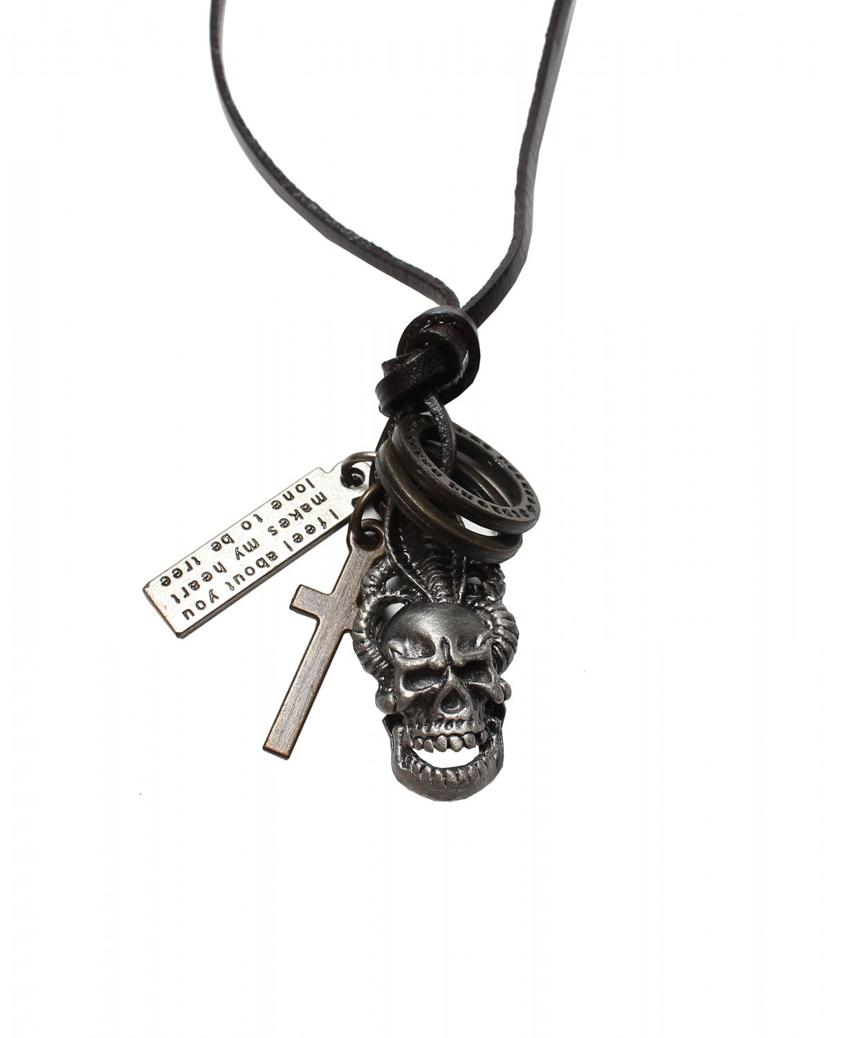 Evil Pendant with Cross and Circle Rings Necklace (N632S)