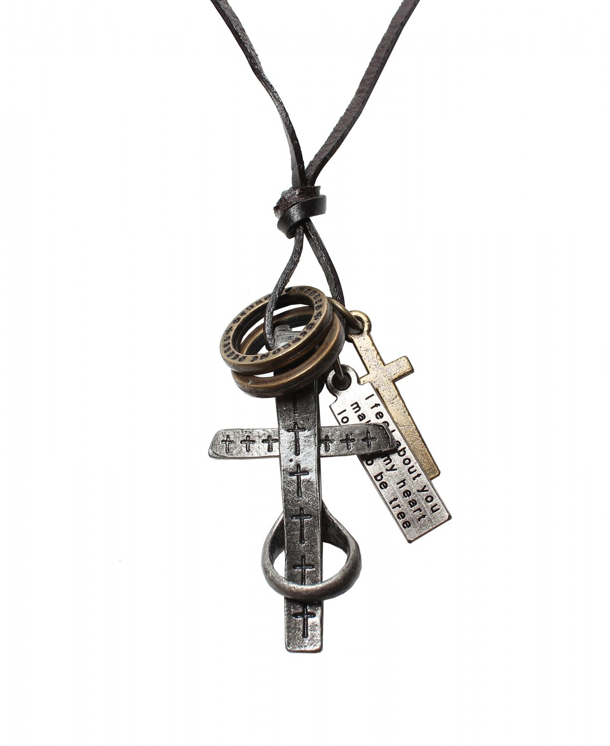 Cross Pendant with Cross and Circle Rings Necklace (N637S)