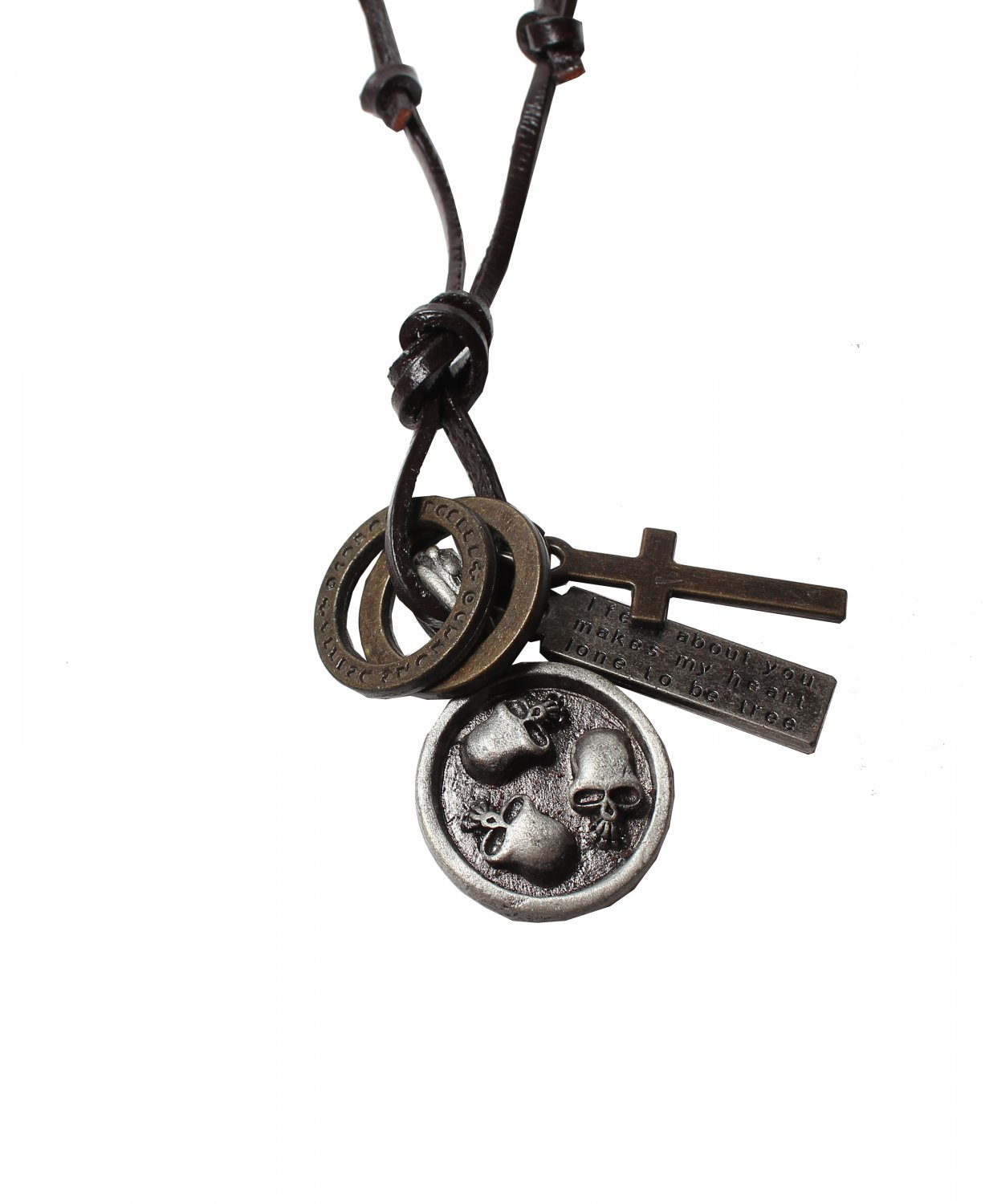 Multi Skull Pendant with Cross and Circle Rings Necklace (N650S)
