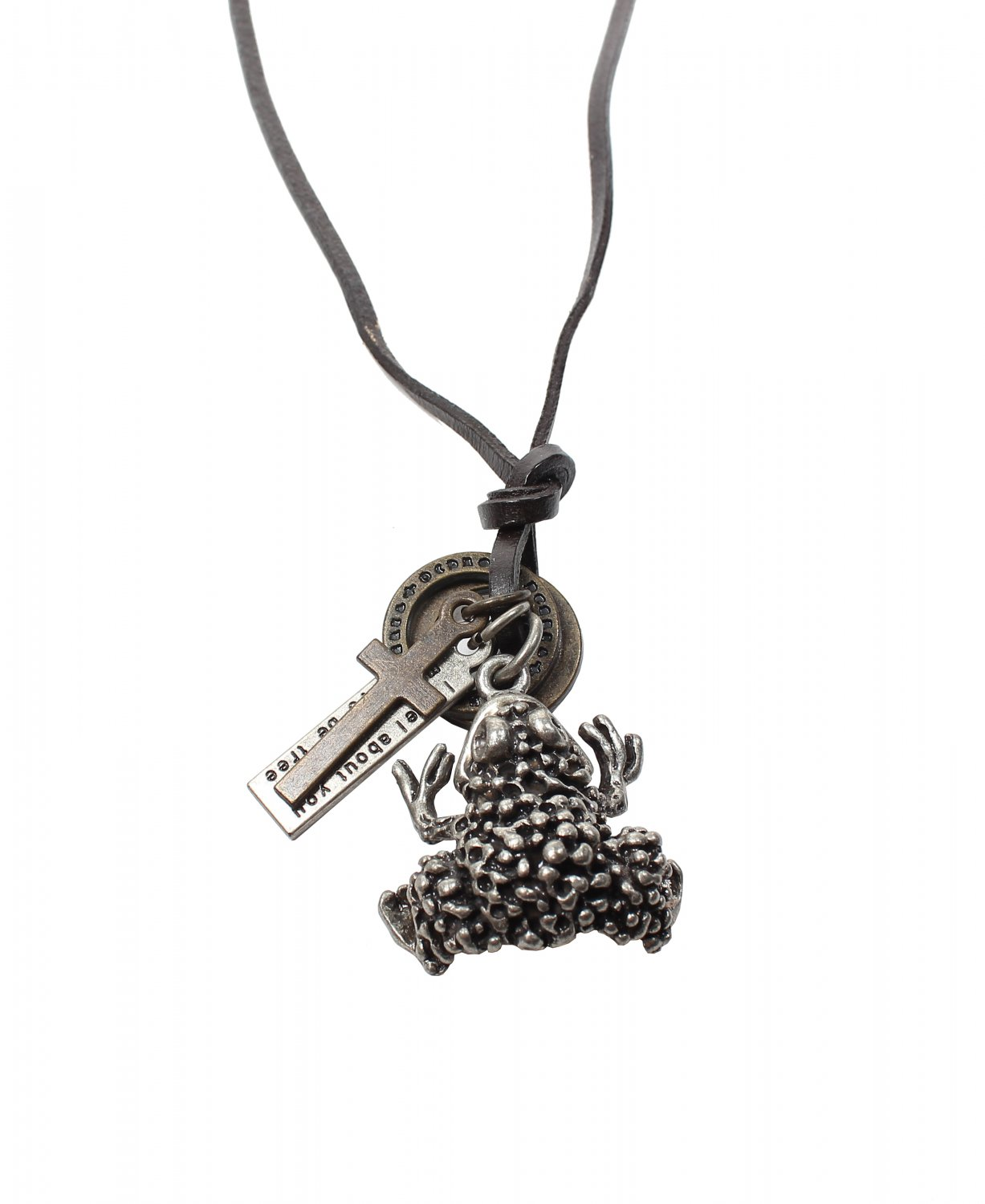 Frog Pendant with Cross and Circle Rings Necklace (N664S)