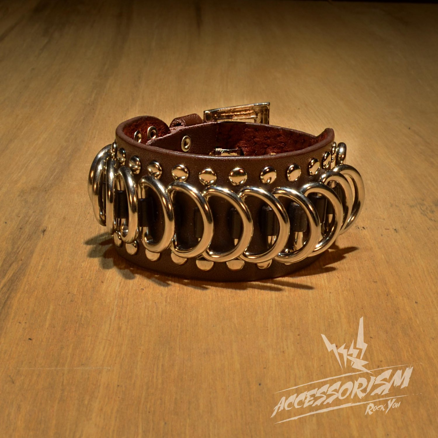 Gothic Metal Circularity Brown Leather Wristband Bracelet (B640RN)