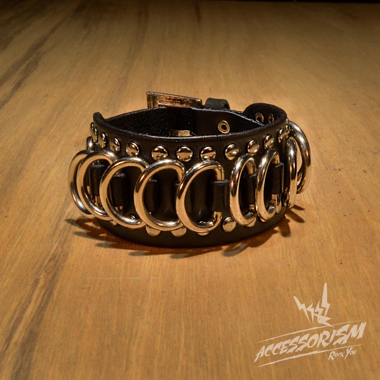 Gothic Metal Circularity Black Leather Wristband Bracelet (B640RB)