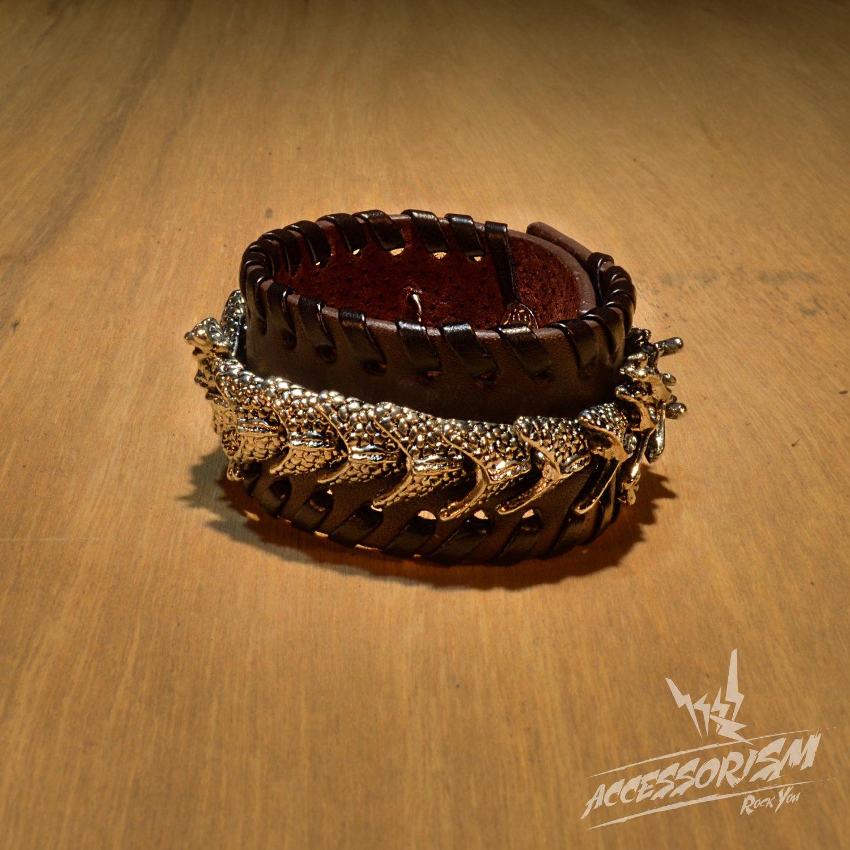 Brown Leather Dragon Stud Cuff Bracelet Wrist (B639RN)