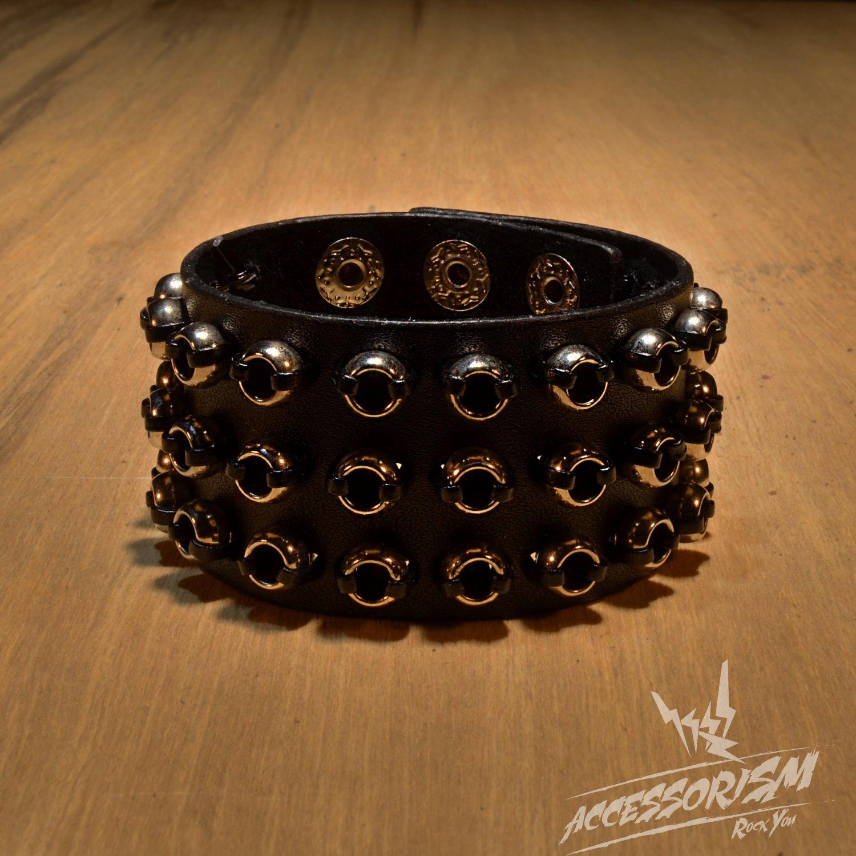 Metal Rings Gothic Bracelet Wristband Cuff Goth (B626R)