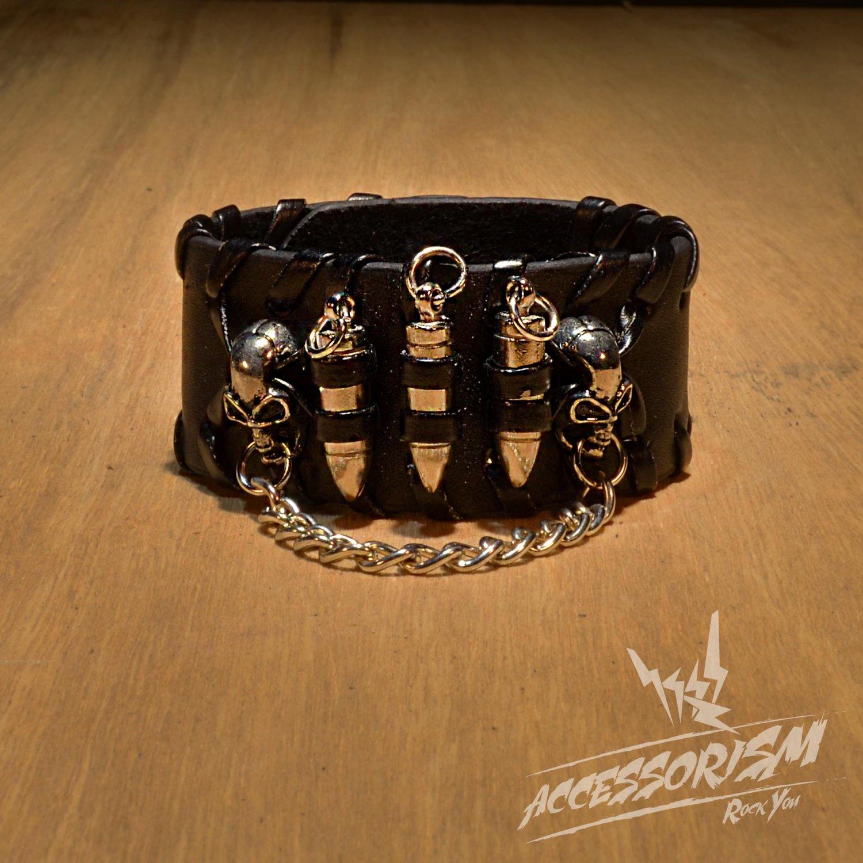Bullets Gothic Bracelet Wrist Band Goth Punk Emo (B635R)