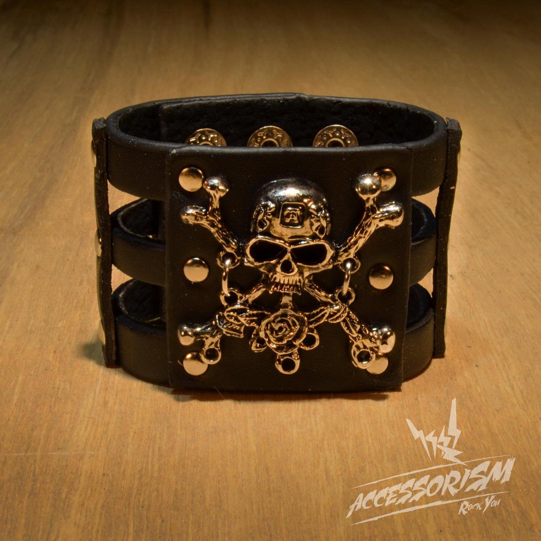 Gothic Skull Crossbones Black Leather Pirate Bracelet (B615RB)