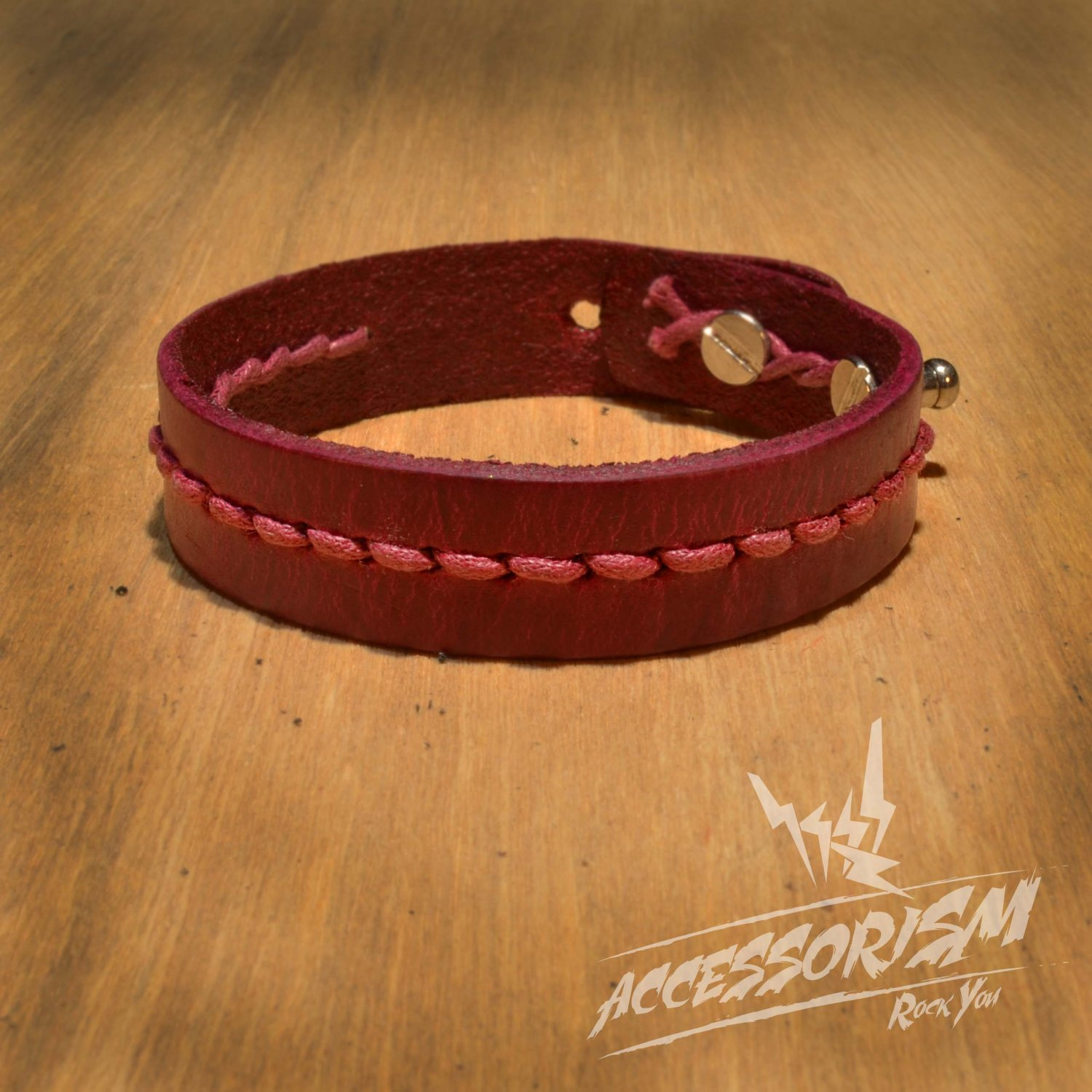 Maroon Leather and String Cuff Bracelet (B641S)