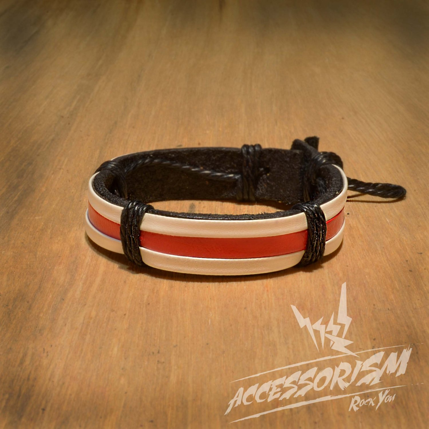 Red and White Leather with Strings Bracelet (B617S)