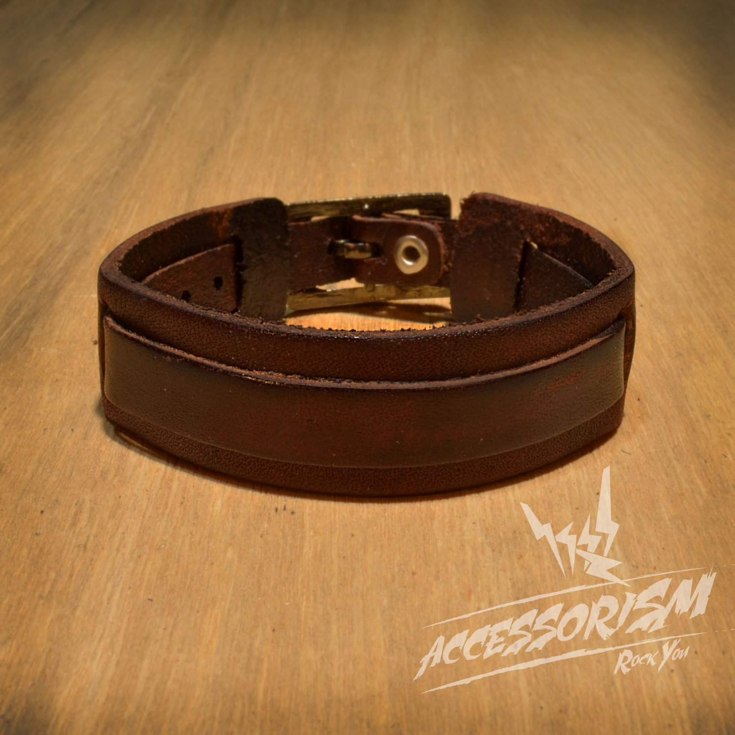 Free Shipping Brown Leather Cuff Bracelet (B615S)