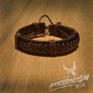 Free Shipping Multi Brown Leather Stripe Bracelet (B634S)