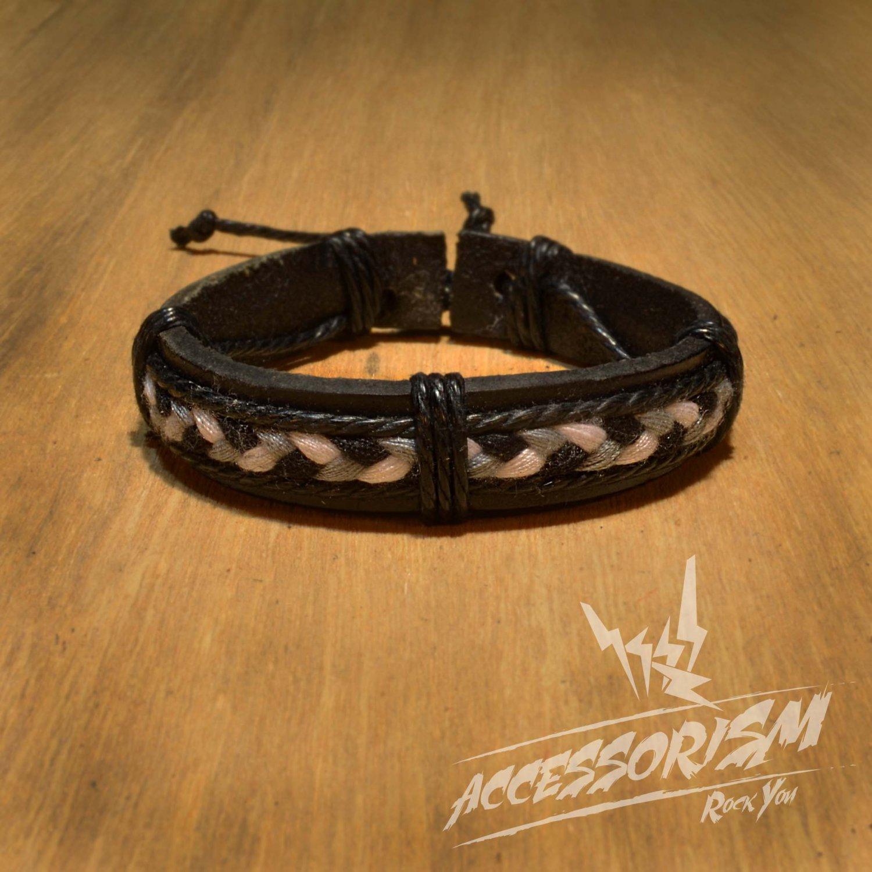 Free Shipping White Black Grey String stripe with Leather Bracelet (B632S)