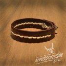 Free Shipping Brown Leather with White String Cuff Bracelet (B639S)