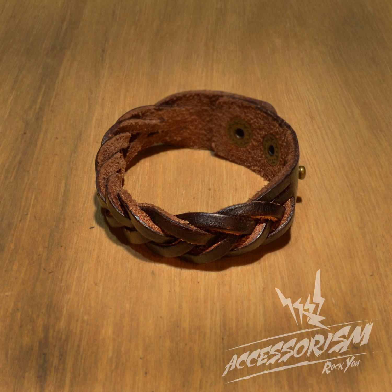 Free Shipping Brown Leather Stripe Cuff Bracelet (B637S)