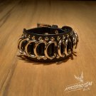 Free Shipping Gothic Metal Circularity Black Leather Wristband Bracelet (B640RB)