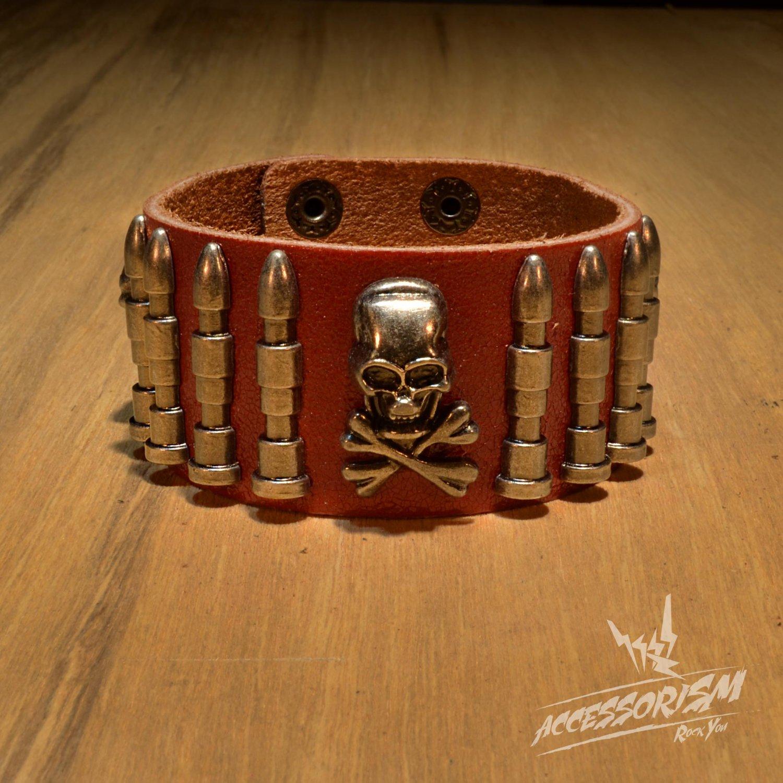Free Shipping Skull & Bullet Rock Red Leather Wristband Bracelet (B645RR)