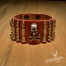 Free Shipping Skull & Bullet Rock Red Leather Wristband Bracelet (B645RR)