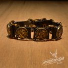 "Free Shipping Multi ""Coins"" Black leather Bracelet (B649R)"