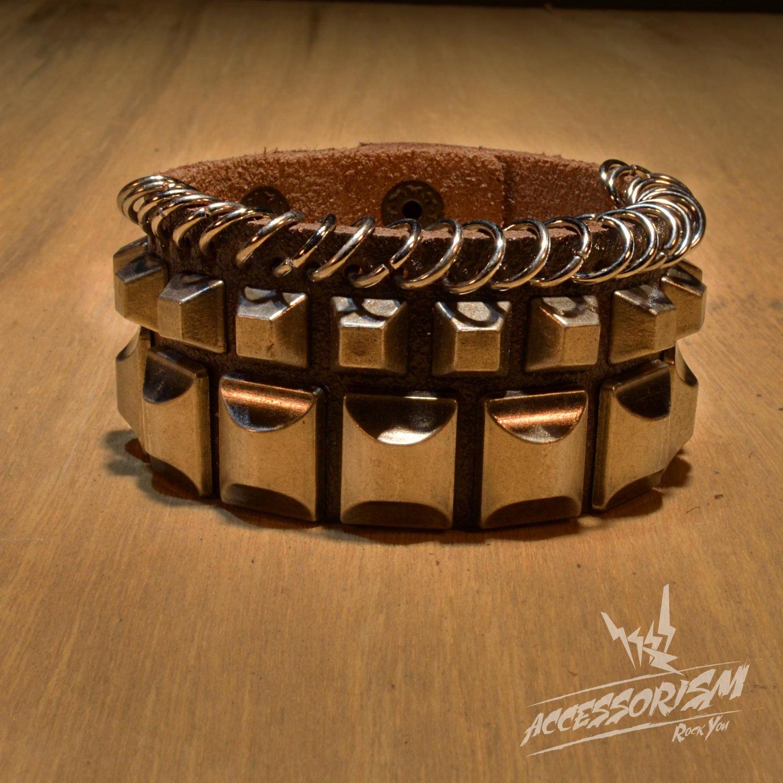 Free Shipping Multi Metal Square & Rings Brown Leather Cuff Wristband Bracelet Rock Punk (B651RN)
