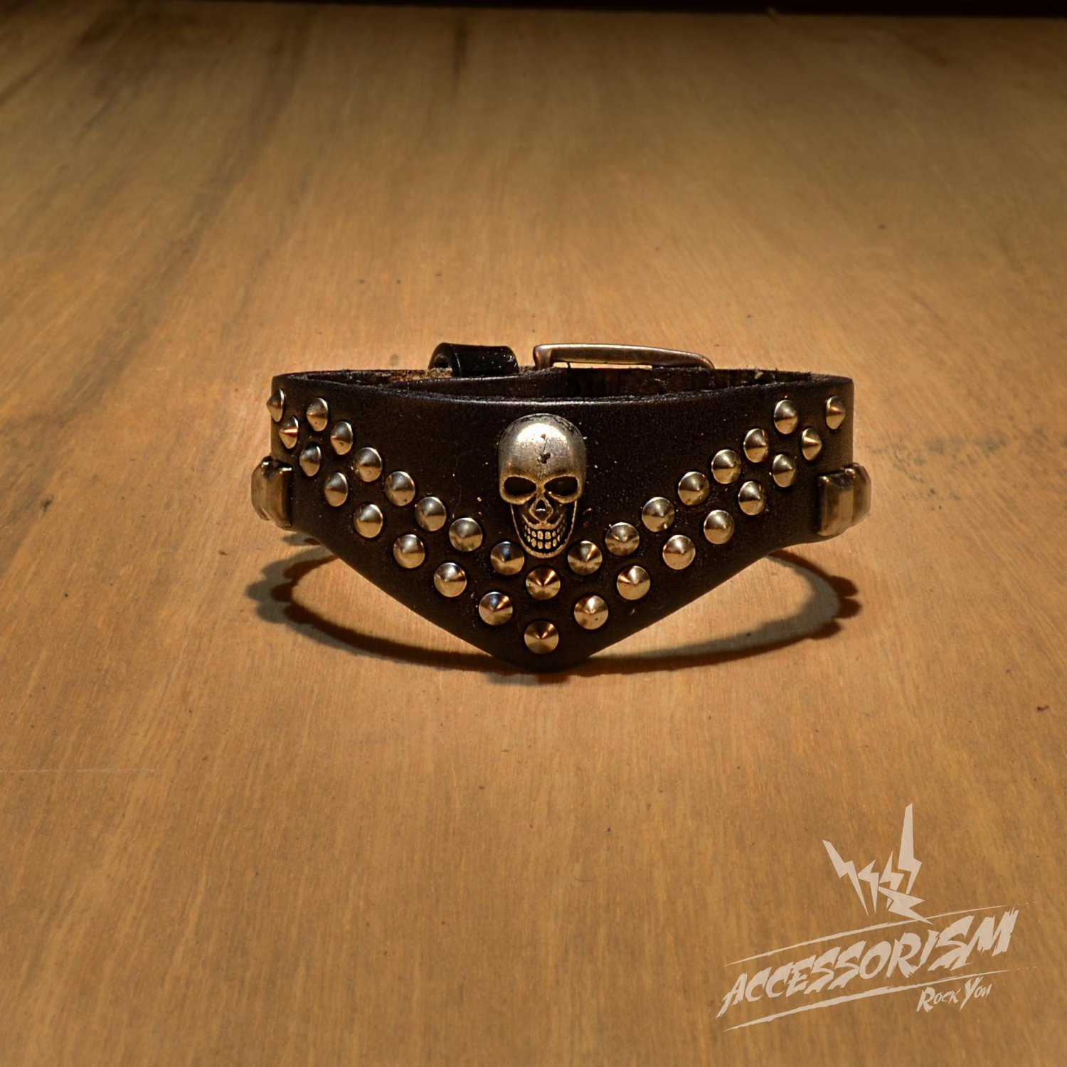 Free Shipping Skull with Multi Circle Black Leather Bracelet (B661R)