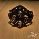 Free Shipping 4 Skull Black Leather Cuff Wristband Bracelet Rock Punk (B663R)