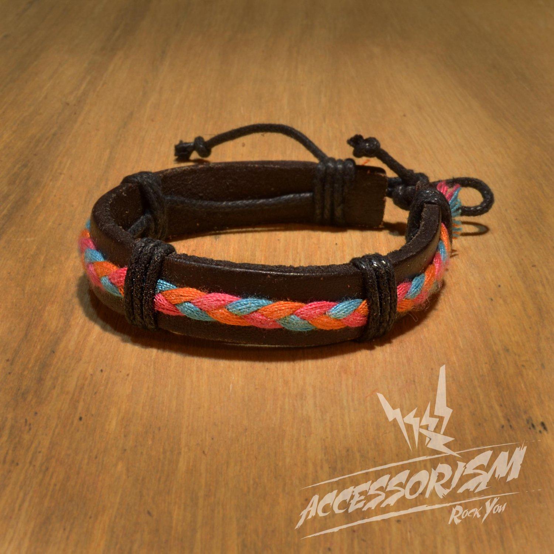 Free Shipping Dark Brown Leather with Light Blue Orange Pink String Bracelet (B665S)