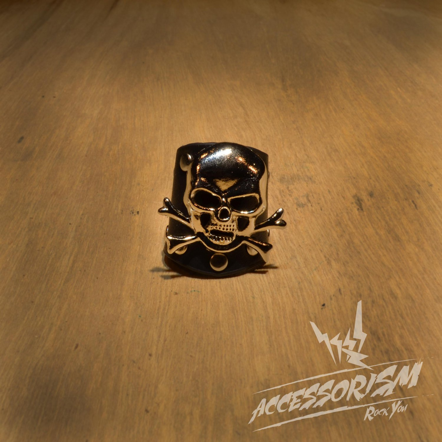 Free Shipping Steel Skull with Black Leather Ring Rock Punk (R615R)