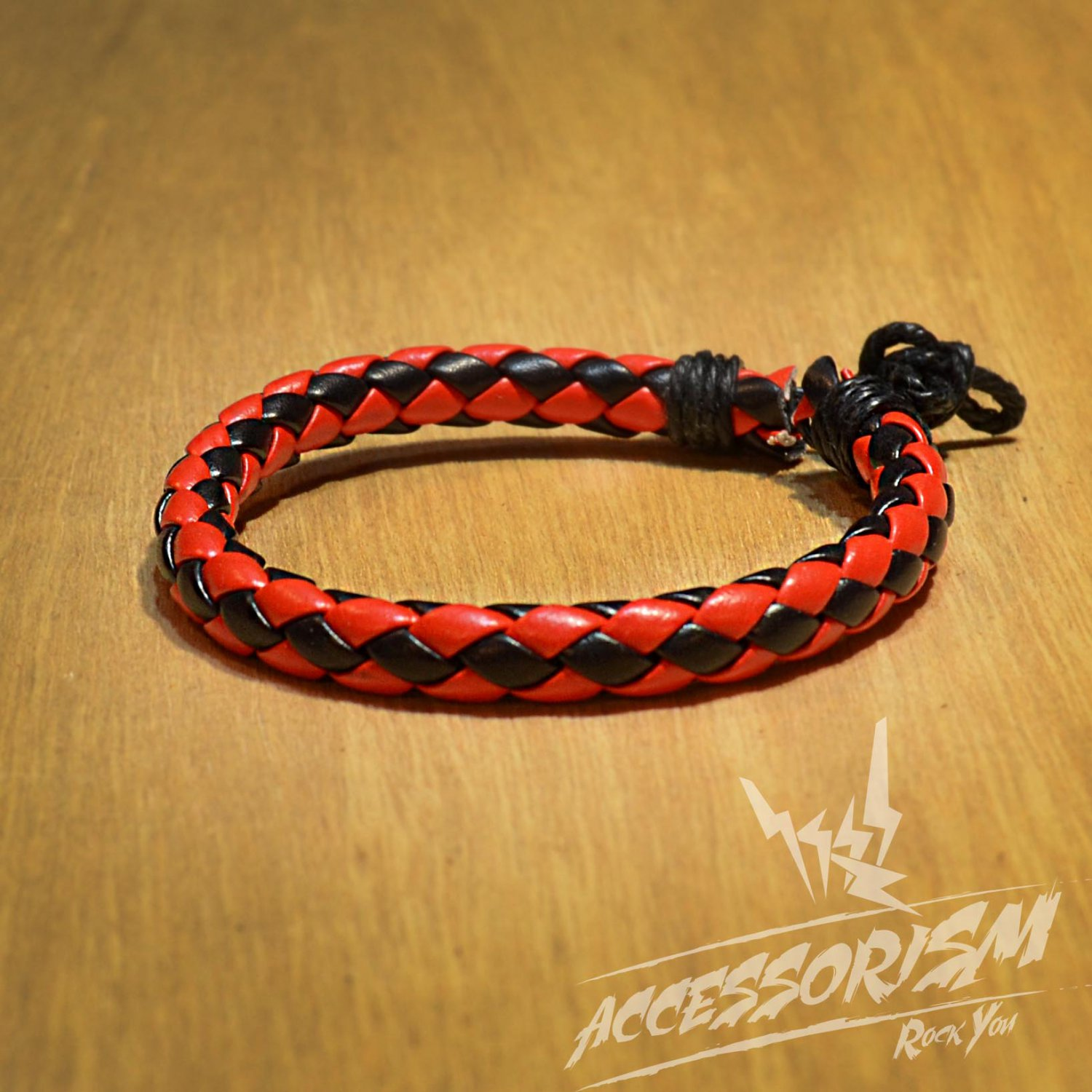 Free Shipping Red and Black Cross Leather Bracelet (B622S)