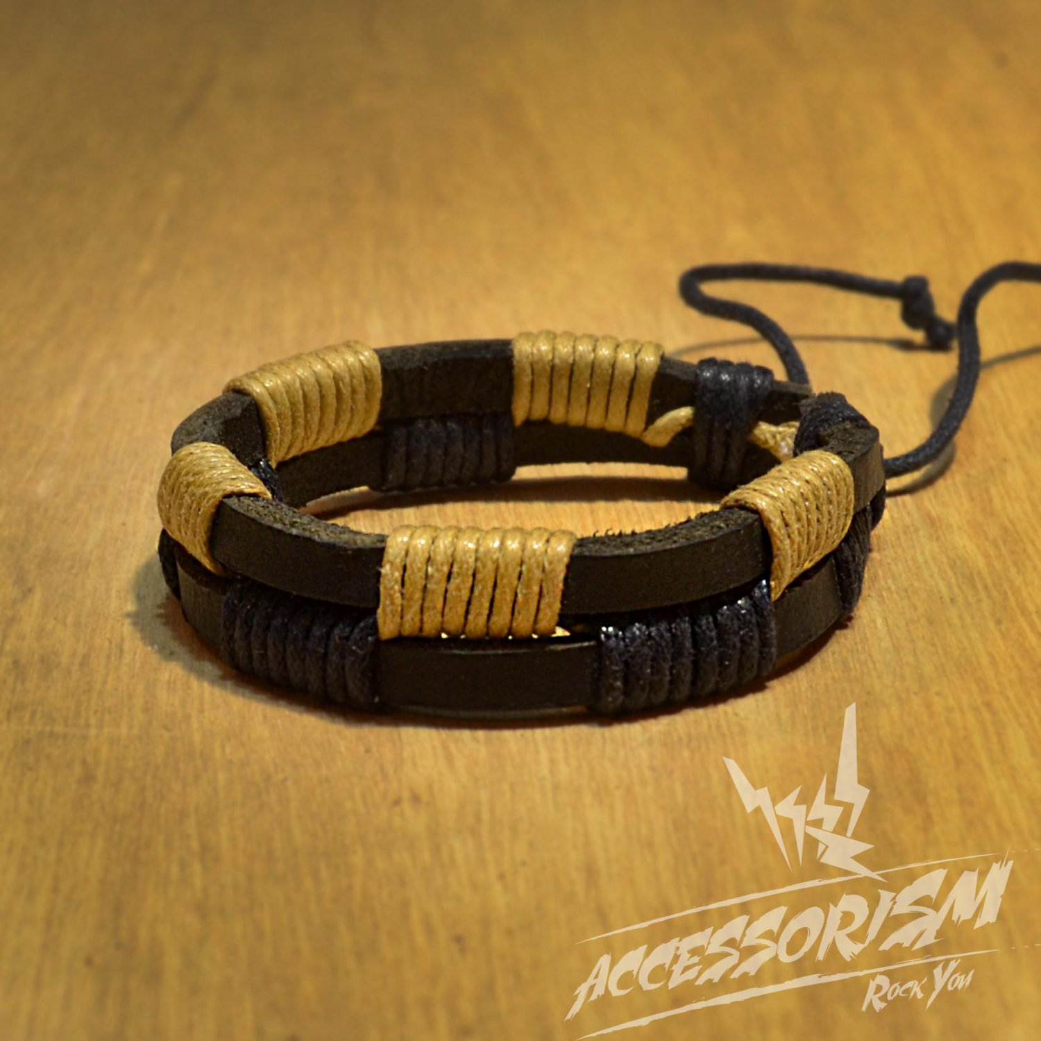 Free Shipping Black Leather with Black & Light Brown String Bracelet (B646S)
