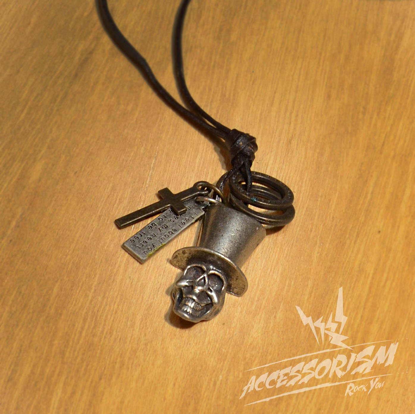 Free Shipping Skull Crown Pendant with Cross and Circle Rings Necklace (N623SN)