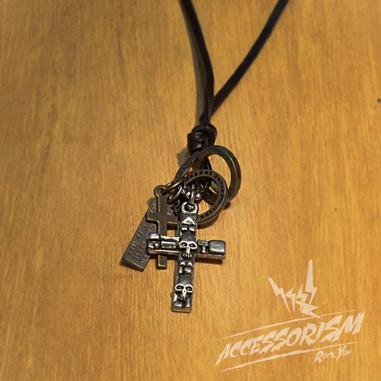 Free Shipping Skull Cross Pendant with Cross and Circle Rings Necklace (N636S)