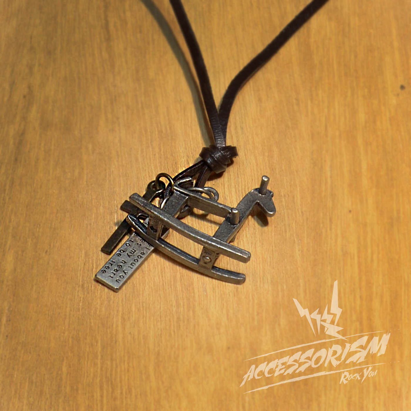 Free Shipping Wood Horse Pendant with Cross ad Circle Rings Necklace (N653S)