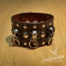 Free Shipping Gothic Skull Crossbones Brown Leather (B644R)
