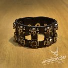 Free Shipping Multi Skull & Cross Black Leather Bracelet Wristband Goth Punk Emo (B647R)